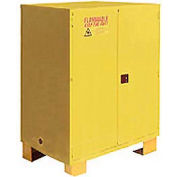 """Global Industrial™ Flammable Cabinet W/Legs, Manual Close Double Door, 120 Gal., 59""""Wx34""""Dx69""""H"""