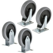"Global Industrial™ Replacement 5"" Rubber Casters For Plastic Service Carts, 2 Swivel/2 Rigid"