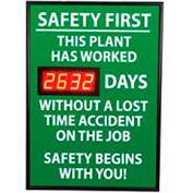 Signe de tableau de bord numérique sécurité - sécurité d'abord, cette plante, perdu du temps