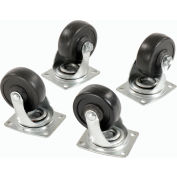 "Set of (4) Swivel 4"" Replacement Casters for Global Hardwood Dolly 1200 Lb. Cap."