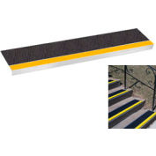 "Grit Surface Aluminum Stair Tread 7-1/2""D 30""W Glued Down Yellowblack"