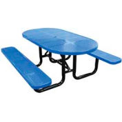 """72"""" Oval Perforated Metal Surface Mount Picnic Table - Blue"""