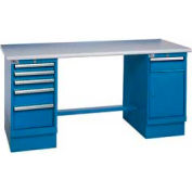 72x30 Safety Plastic Pedestal Workbench with 5 Drawers & Cabinet