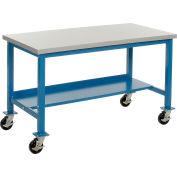 "72""W x 36""D Mobile Workbench - Plastic Laminate Safety Edge - Blue"