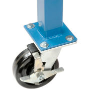 "5"" Phenolic Swivel Casters with Brakes Blue - Set of 4"