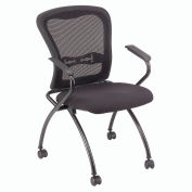 Mesh Stacking Chair with Arms - Fabric - Black - Pkg Qty 2