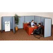 """Pre-Configured Partitioned Office Add-On, 10'W x 10'D x 60""""H, Blue"""