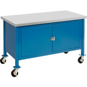 """60""""W x 30""""D Mobile Workbench with Security Cabinet - Plastic Laminate Safety Edge - Blue"""