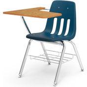 Virco® 9700br Classic Chair Desk- Med Oak Curve Top/Navy Seat/Chrome Frame - Pkg Qty 2