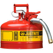 """Justrite® Type II Safety Can - 2-1/2 Gallon with 1"""" Hose, 7225130"""
