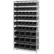 Chrome Wire Shelving With 48 Giant Plastic Stacking Bins Black, 36x14x74
