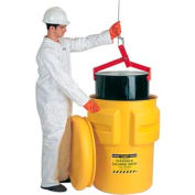 Eagle 1695 Plastic Salvage Drum - 95 Gallon - Yellow with Metal Band & Bolt