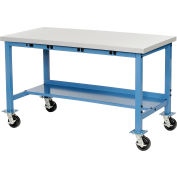 "60""W x 30""D Mobile Production Workbench with Power Apron - Plastic Laminate Square Edge - Blue"