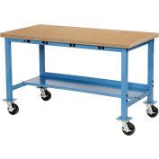 """72"""" W x 30"""" Workbench Mobile de Production D alimentation tablier - Edge Square Top Shop - bleu"""