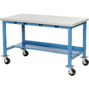 """72""""W x 30""""D Mobile Production Workbench with Power Apron - Plastic Laminate Safety Edge - Blue"""
