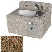 Outdoor Drinking Fountain - Concrete, Wall-Mount, Tan River Rock