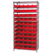 "Chrome Wire Shelving with 55 4""H Plastic Shelf Bins Red, 36x18x74"