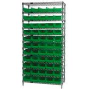 "Chrome Wire Shelving with 55 4""H Plastic Shelf Bins Green, 36x18x74"