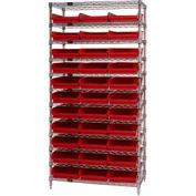 "Chrome Wire Shelving with 33 4""H Plastic Shelf Bins Red, 36x18x74"