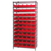 "Chrome Wire Shelving with 55 4""H Plastic Shelf Bins Red, 36x24x74"
