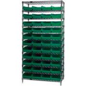 "Chrome Wire Shelving with 44 4""H Plastic Shelf Bins Green, 36x24x74"