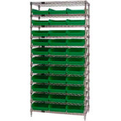 "Chrome Wire Shelving with 33 4""H Plastic Shelf Bins Green, 36x24x74"