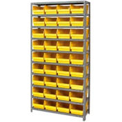 "Steel Shelving With 36 4""H Plastic Shelf Bins Yellow, 36x12x72-13 Shelves"