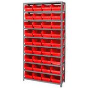 "Steel Shelving With 36 4""H Plastic Shelf Bins Red, 36x18x75-13 Shelves"