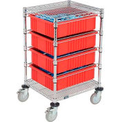 "Chrome Wire Cart With (4) 6""H Red Grid Containers 21"" x 24"" x 40"""