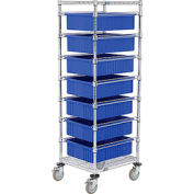 "21X24X69 Chrome Wire Cart With 7 6""H Grid Containers Blue"