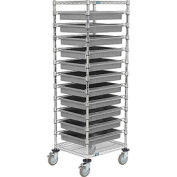 """21X24X69 Chrome Wire Cart With 11 3""""H Grid Containers Gray"""