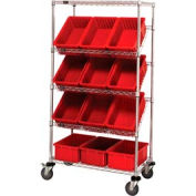 """Easy Access Slant Shelf Chrome Wire Cart With 12 8""""H Grid Containers Red, 36""""L x 18""""W x 63""""H"""