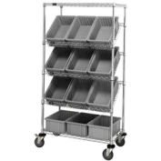 "Easy Access Slant Shelf Chrome Wire Cart With 12 8""H Grid Containers Gray, 36""L x 18""W x 63""H"