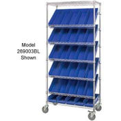"Easy Access Slant Shelf Chrome Wire Cart With 48 4""H Shelf Bins Blue, 36""L x 18""W x 74""H"