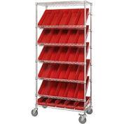 """Easy Access Slant Shelf Chrome Wire Cart With 30 4""""H Shelf Bins Red, 36""""L x 18""""W x 74""""H"""