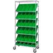 """Easy Access Slant Shelf Chrome Wire Cart With 30 4""""H Shelf Bins Green, 36""""L x 18""""W x 74""""H"""