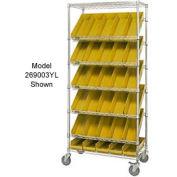 """Easy Access Slant Shelf Chrome Wire Cart With 24 4""""H Shelf Bins Yellow, 36""""L x 18""""W x 74""""H"""