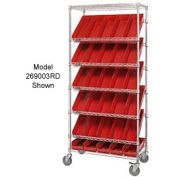 "Easy Access Slant Shelf Chrome Wire Cart With 24 4""H Shelf Bins Red, 36""L x 18""W x 74""H"