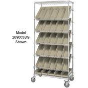 """Easy Access Slant Shelf Chrome Wire Cart With 24 4""""H Shelf Bins Ivory, 36""""L x 18""""W x 74""""H"""
