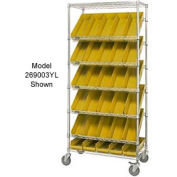 "Easy Access Slant Shelf Chrome Wire Cart With 18 4""H Shelf Bins Yellow, 36""L x 18""W x 74""H"