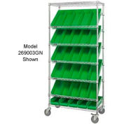 "Easy Access Slant Shelf Chrome Wire Cart With 18 4""H Shelf Bins Green, 36""L x 18""W x 74""H"