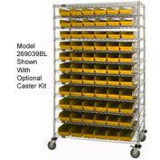 "Chrome Wire Shelving with 91 4""H Plastic Shelf Bins Yellow, 48x24x74"