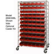 "Chrome Wire Shelving with 91 4""H Plastic Shelf Bins Red, 48x24x74"