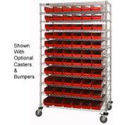 "Chrome Wire Shelving with 66 4""H Plastic Shelf Bins Red, 48x24x74"