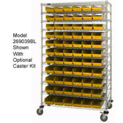 "Chrome Wire Shelving with 143 4""H Plastic Shelf Bins Yellow, 60x24x74"