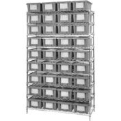 """Chrome Wire Shelving With 36 6""""H Nest & Stack Shipping Totes Gray, 48x18x74"""