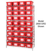 """Chrome Wire Shelving With 24 9""""H Nest & Stack Shipping Totes Red, 48x18x74"""