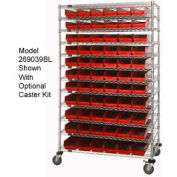 "Chrome Wire Shelving with 88 4""H Plastic Shelf Bins Red, 60x24x74"