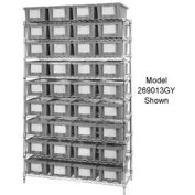 """Chrome Wire Shelving With 12 10""""H Nest & Stack Shipping Totes Gray, 72x24x63"""