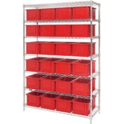 """Chrome Wire Shelving With 24 8""""H Grid Container Red, 48x18x74"""
